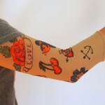 Halloween Ideas: Fake Tattoo Sleeve – Pink Stripey Socks