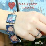 Decoupage a family photo bracelet.