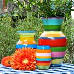 DIY Simple Striped Spring Vases