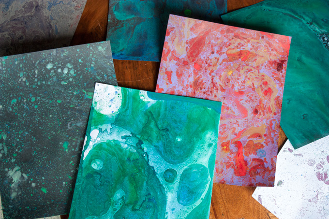 diy marbled paper with oil paints indie crafts. Black Bedroom Furniture Sets. Home Design Ideas
