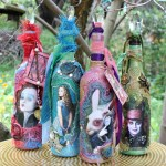 DIY Alice Through The Looking Glass Mixed Media Bottles