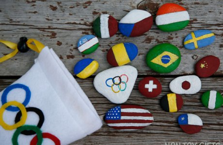 Celebrate the Olympics with your Kids! Paint Flag Rocks!