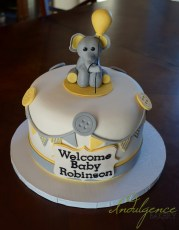 Neutral Elephant Baby Shower Cake