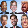 A set of ten caricatures of the 2016 presidential candidates participating in the Fox News debates.
