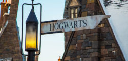 """A photo of a sign that reads, """"Hogwarts."""""""