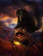 Кот верхом на жабе гонятся за женщиной в лесу(которую охраняет ангел), желая напугать ее.