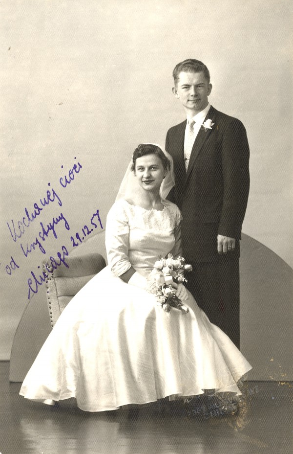 Adam and Krystyna Saling on their wedding day in 1956.