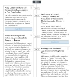 Click on the image for an interactive timeline of key filings in the San Diego Hospice bankruptcy case.