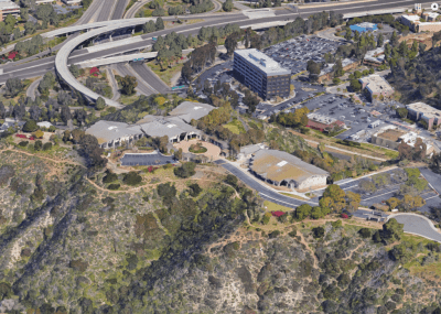 Undated aerial photo of the San Diego Hospice campus. Courtesy of Google Maps.