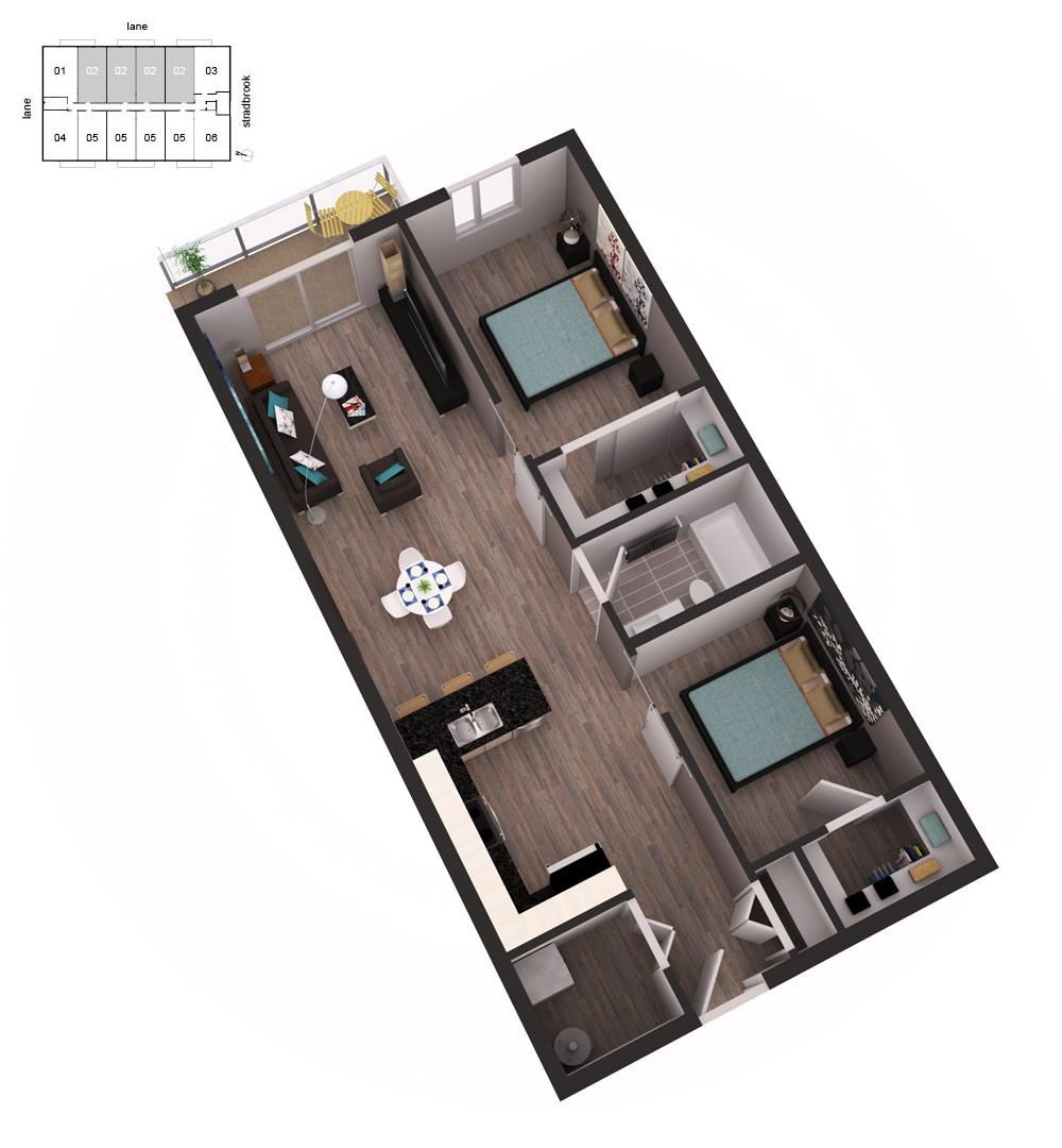 3D Floor Plan Unit 21