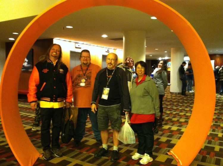 The entry to the conference hall featured giant loops of orange track. No one was allowed to ride on them, however.