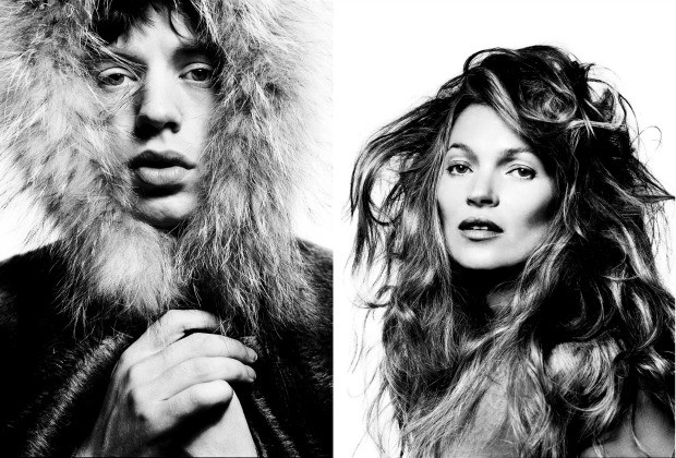 Mick Jagger e Kate Moss retratados por David Bailey (Foto: David Bailey / Divulgação)