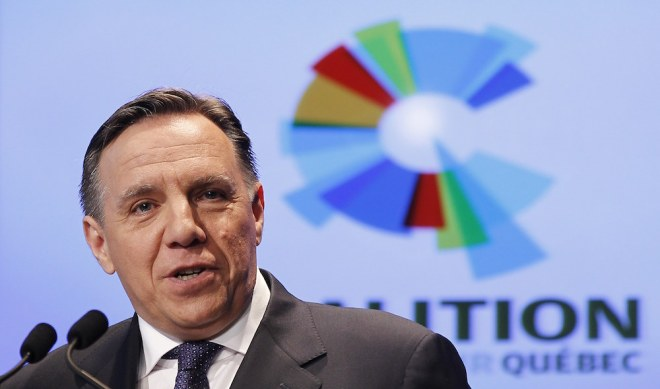 Coalition Avenir Quebec (CAQ) co-founder Francois Legault speaks during a news conference at the Palais Montcalm in Quebec City, November 14, 2011. Legault and co-founder Charles Sirois announced the creation of their new provincial political party on Monday. REUTERS/Mathieu Belanger (CANADA - Tags: POLITICS)
