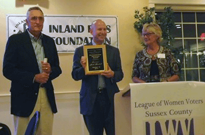 Fig. 3 Inland Bays Foundation and League of Women Voters ® award to Governor Jack Markell (photo by Dottie LeCates)