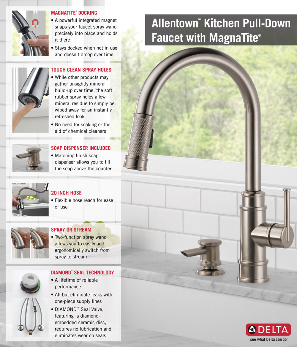 kitchen faucet pull down Home Depot Delta Faucet Pull Down with Soap Dispenser Kitchen Infographic