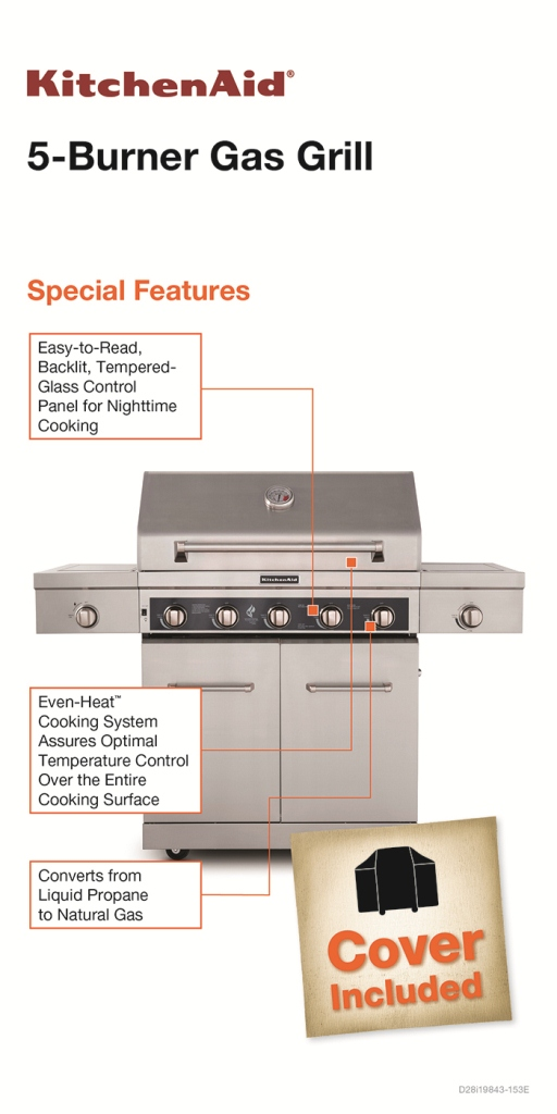 Plain Kitchenaid 5 Burner Gas Grill Propane With Led Control For Design Decorating