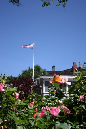 flagpole at Fuerst home