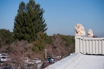 Gargoyles atop SLAC's building 280
