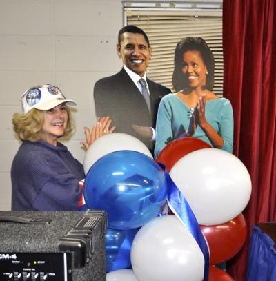 happy campaign worker at Menlo Park Democratic headquarters