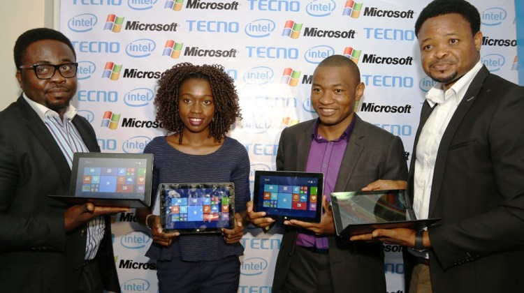 Womiloju Olabanji; Consumer Business Lead Sub -Saharan Africa, Intel Corporation; Yewande Oyebo, Device Specialist Microsoft Nigeria; Mark Ihimonya, Consumer Director, Microsoft Nigeria; and, Attai Oguche; Activation and Event Manager, Tecno Mobile at the official launch of the new Tecno WinPad 10 on Thursday, 25th June, 2015 at Westown Hotels, Ikeja, Lagos