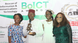(L-r):  Lola Masha, Country Manger OLX; Fife Aiyesimoju, Brand Marketing manager, OLX and Uche Nwagboso, PR & Communication Lead, OLX being presented the award of the Classified Advert  Website of the Year by Chris Uwaje Africa Co-Chair for publicity, communications at WFIoT