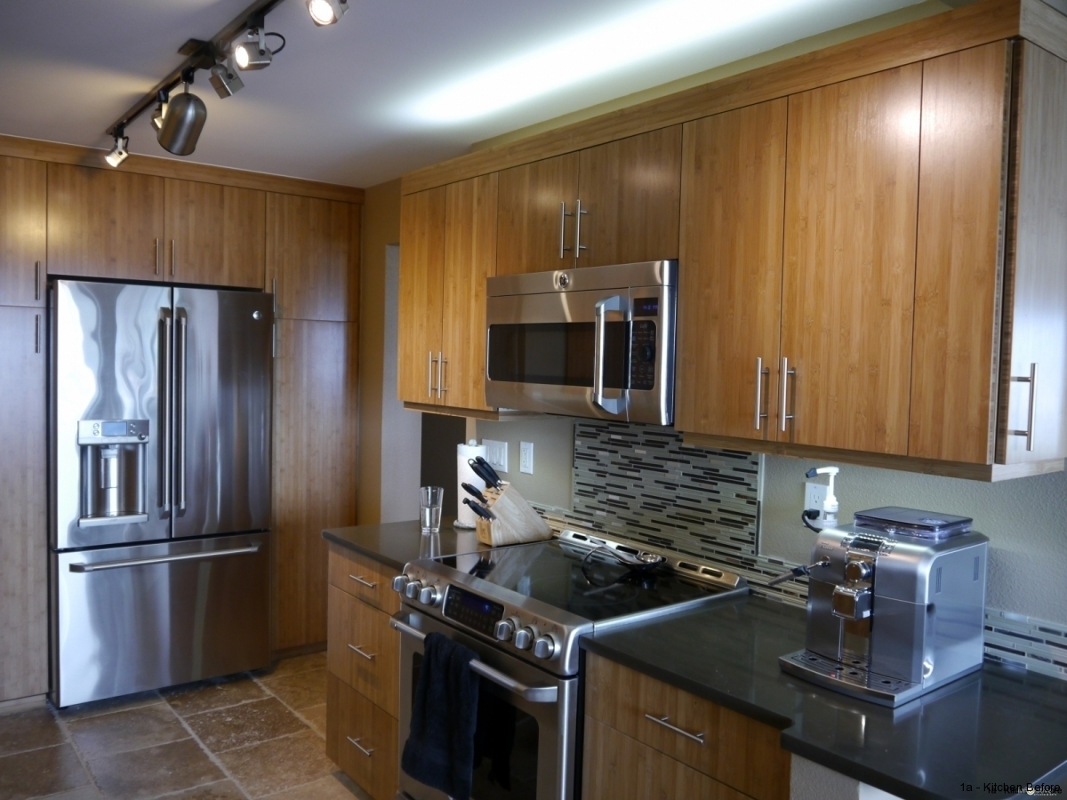 queen anne kitchen remodel in bamboo bamboo kitchen cabinets Caramelized bamboo cabinets full height pantry with built in look refrigerator