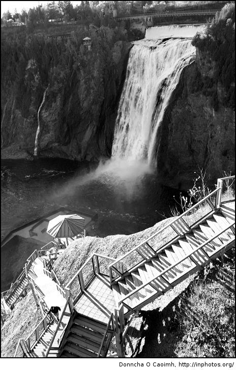 Birds eye view of Montmorency Falls