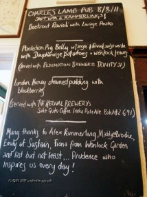 Menu at Charles Lamb