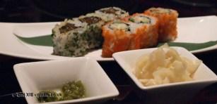 Sushi and pickles, sushi making at Ichi Sushi and Sashimi Bar
