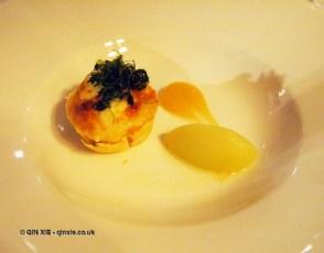 Clafoutis, golden cross, Waldorf salad by Nigel Mendham, Dukes Hotel