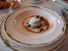 Pan fried scallop and octopus slices with coriander, served on a bed of celery puree, coconut emulsion and tamarind sauce, The Waterside Inn, Bray
