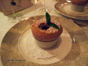 Warm raspberry soufflé with raspberry coulis, The Waterside Inn, Bray