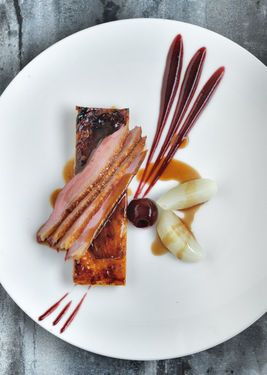 Breast of duck with a tarte fine of caramelised endive and cherry puree recipe