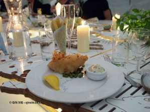 Pollock in beer batter, twice cooked chips, petits pois à l'anglaise and tartare sauce, British night, Global Feast 2012