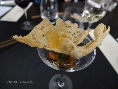 Foie Gras 'Martini' with umushu jelly, nashi and puffed rice, Wabi, Holborn