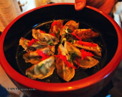 Pan-fried leek gyoza dumplings, Luiz Hara, London Foodie Japanese Supperclub with Bordeaux Wine