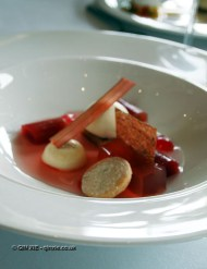Rhubarb jelly with ice cream, Humphry's, Stoke Park, Buckinghamshire