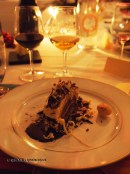 Le Louis de Noël, roll of crunchy praline, soft biscuit and white chocolate, vanilla and gold coat, Pays d'Oc dinner at Gauthier Soho