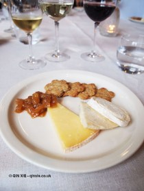 A selection of cheese, Hafod, Innes log and Beenleigh Blue, The Modern Pantry oatcakes and chutney, Brancott Estate at The Modern Pantry, Clerkenwell