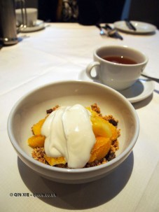 Cereal with fruit and yoghurt, London Malmaison Brasserie