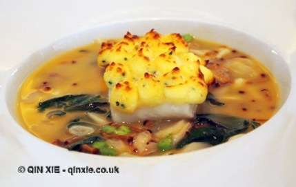 Poached fillet of brill, herb potato crust, golden enoki, asparagus, shellfish & dashi broth, Galvin at Windows, London