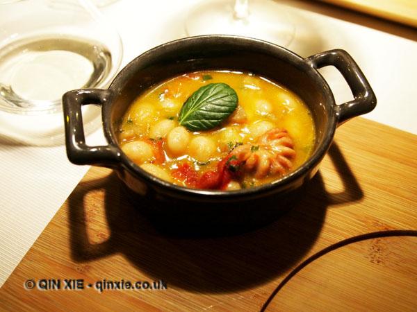 White bean, chorizo, tomato and octopus cassoulet, Riberach, Belesta