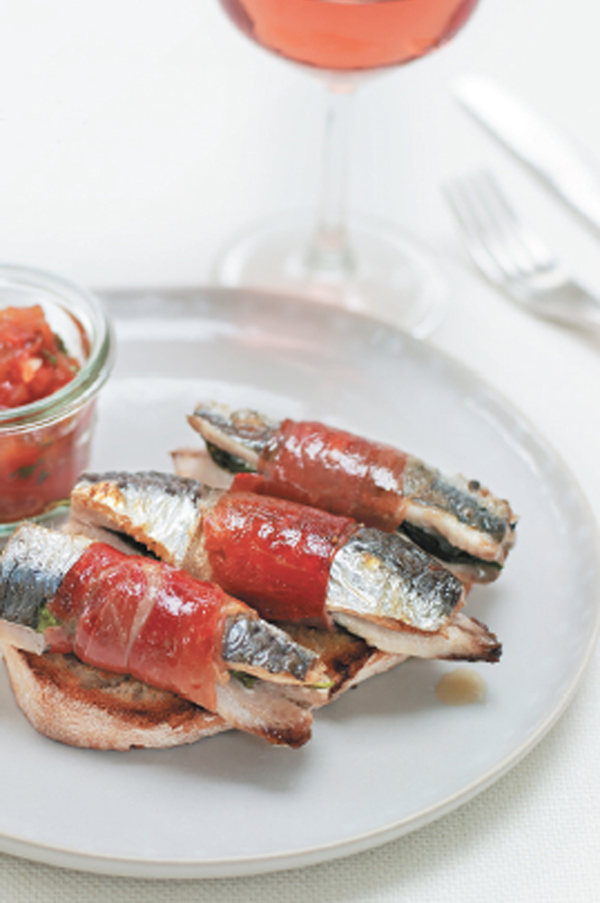 Grilled sardines with ham and basil, and tomato relish recipe
