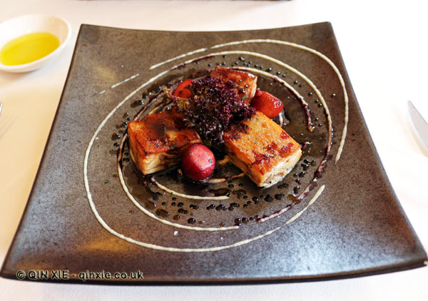 Suckling pig with red wine cooked apples, Restaurant Martin by Martin Berasatgui, Shanghai