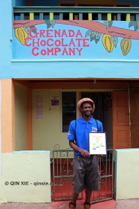 Edmund Brown outside Grenada Chocolate Company