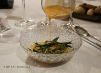 Warm baby bean stew, kokotxas and hake and tomato infusion (Ricard Camarena), #AtxaAndreRicard at Azurmendi, Larrabetzu