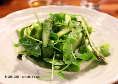 Wye Valley asparagus salad with Herefordshire goats curd and land cress, Marks Kitchen Library at The Tramshed