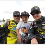 The biggest thrill for Mr L during our weekend at Canadian Tire Motorsport Park during the NASCAR Trucks World Camping Series  Chevrolet Silverado 250 race was meeting and posing with race car drivers German Quiroga and Jeb Burton.