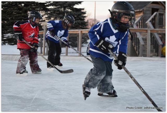 Canadian Backyard Ice Rink Kids Skating