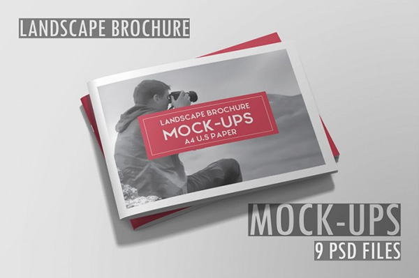 75  Free PSD Magazine  Book  Cover   Brochure Mock ups Landscape Brochure Mockups   8 Files